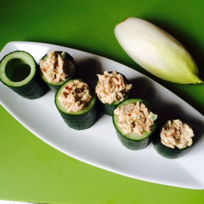 Tuna Stuffed Cucumber Bowls
